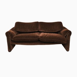 Velvet 2-Seat Sofa by Vico Magistretti for Cassina, 1970s