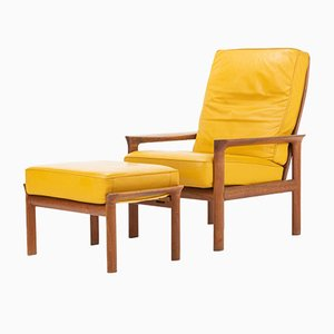 High Back Teak Armchair & Ottoman Borneo in Ocher Yellow by Sven Ellekaer for Komfort, 1960s, Set of 2