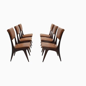 Italian Mahogany Dining Chairs, 1950s, Set of 6