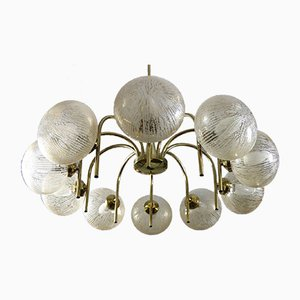 Brass and Glass Sputnik Chandelier, 1970s