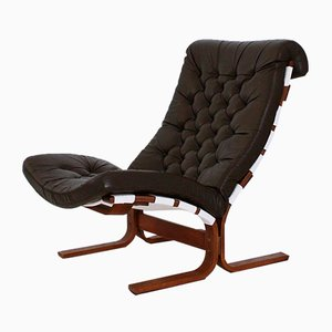 Scandinavian Modern Tufted Leather Lounge Chair, 1970s