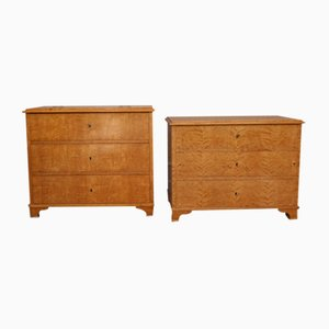 Biedermeier Swedish Birch Veneer Chest of Drawers, Set of 2