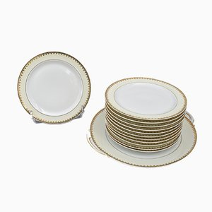 French Cake Service Set by Union Céramique for Limoges UC, 1930s