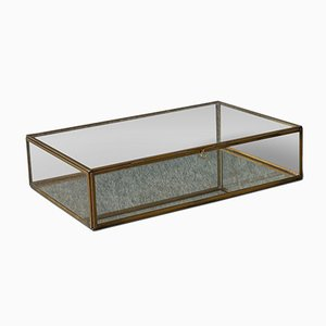 Vintage English Brass and Glass Display Box, 1980s