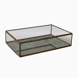 Vintage English Glass and Brass Display Case, 1980s