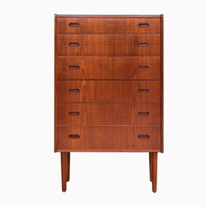 Mid-Century Danish Chest of 6 Drawers in Teak with 2 Handles, 1960s