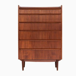 Mid-Century Danish Chest of 6 Drawers in Teak with Upstanding Border, 1960s