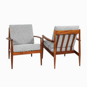Mid-Century Danish Easy Chairs in Teak by Grete Jalk for France & Søn, Set of 2