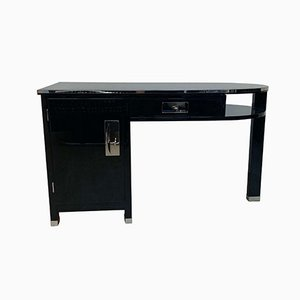 Small Art Deco Desk with Column Leg, Black Lacquer & Metal, France, 1930s