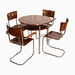 Bauhaus Cantilever Seating Group in Walnut and Chrome, Czech, 1930s