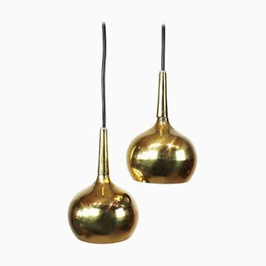 Danish Brass Pendant Lamps, 1960s, Set of 2