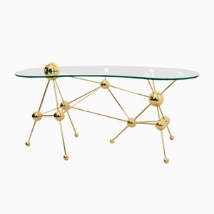 Sputnik Brass and Glass Desk or Table, 1990s