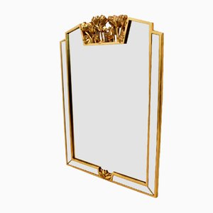 Gilded Flowered Mirror from Deknudt Belgium, 1980s