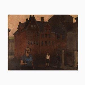 Oil on Canvas Urban Motif from Magstræde by Otto Olsen, Copenhagen, 1957
