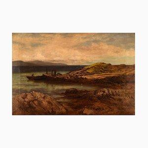 British Oil on Canvas the Ferry Rower by John Douglas Scott, 1877