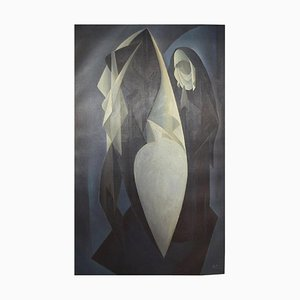 Danish Oil on Canvas Praying Nun and Nude Model by Orla Muff, 1954