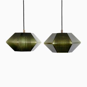 Pendant Lamps in Green Glass by Carl Fagerlund for Orrefors, 1960s, Set of 2