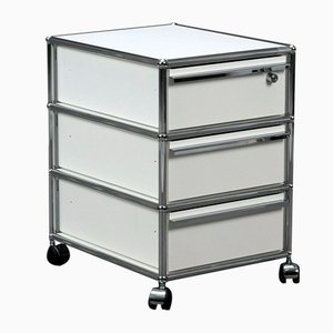 Mobile Container with 3 Drawers White Office Container Shelf & Key from USM Haller