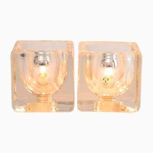 Clear Glass Cube Table Lamps from Peill & Putzler, 1970s, Set of 2