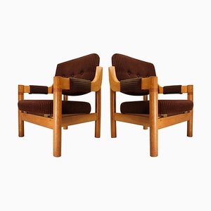 Armchair with Robust Oak Wooden Frame, the Netherlands, 1960s