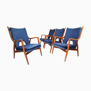 Mid-Century Lounge Chairs in Blue Velvet, France, 1960s, Set of 4