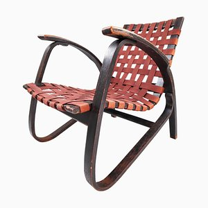 Patinated Lounge Chair in Wood and Canvas by Jan Vanek, Czech Republic, 1930s