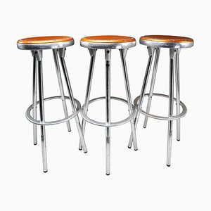 Spanish Industrial Barstools in Aluminum by Joan Casas Y Ortinez for Indecasa, 1980s, Set of 3