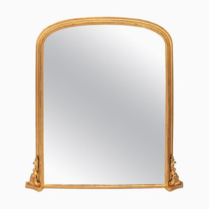 Antique Gilded Overmantle Mirror, 1890s