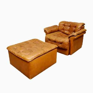 Vintage DS-11 Patchwork Club Chair & Footstool from de Sede, 1970s, Set of 2
