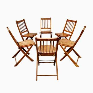 Antique Asian Folding Garden Chairs, 1930s, Set of 6