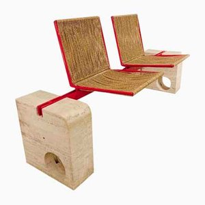 Travertine and Red Metal Bench with 2 Rope Seats, Italy, 1970s