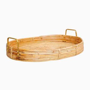 Bent Oval Rattan Serving Tray with Brass Finish Handles, 1970s