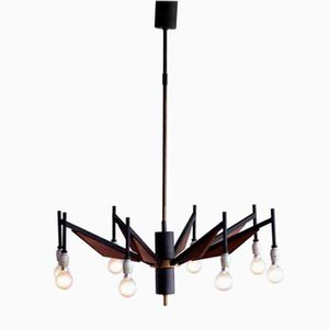 Italian Brass and Teak Chandelier from Stilnovo, 1950s