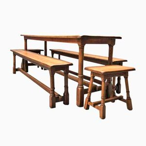 Oak Table, Benches & Stools Set, 1930s