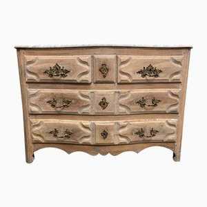 18th Century French Bleached Walnut Commode with Marble Top