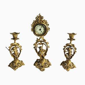 Victorian Ornate Gilded Clock Set