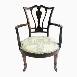 Antique Inlaid Mahogany Armchair