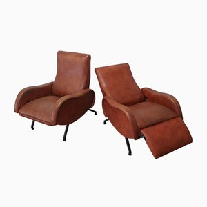 Mid-Century Lounge Chairs in the Style of Zanuso, Set of 2