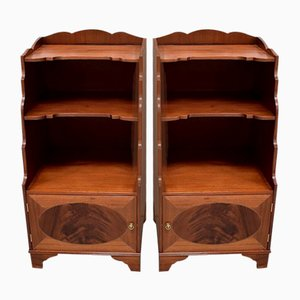 Small Antique English Solid Mahogany Cabinets, 1900s, Set of 2
