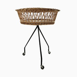 Tripod Metal Base Wicker Basket, 1950s