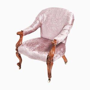 Victorian Carved Walnut Cabriole Leg Armchair