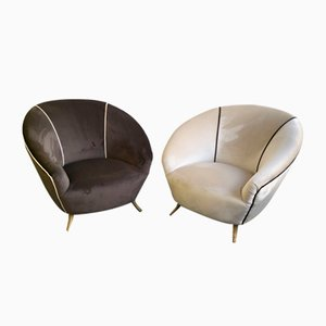 Italian Brass Feet and Velvet Lounge Chairs, 1950s, Set of 2
