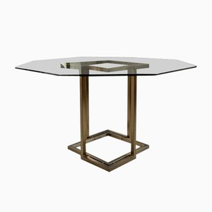 Italian Octagonal Glass and Brass Dining Table by Romeo Rega, 1970s