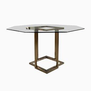 Mesa de comedor italiana octogonal de vidrio y latón de Romeo Rega, años 70