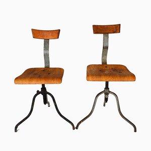 Industrielle Werkstatt Stühle, 1940er, 2er Set