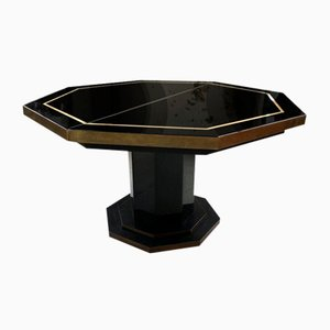 Octagonal Lacquer and Brass Dining Table by Jean Claude Mahey, 1970s