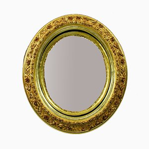 19th Century French Gilt Butler Mirror with Roses and Birds