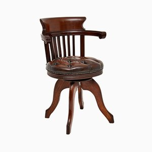 Antique Victorian Mahogany and Leather Upholstered Swivel Desk Chair