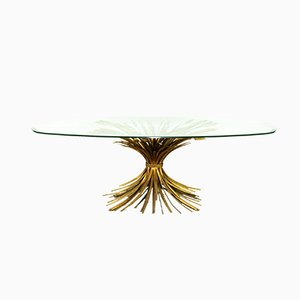 Mid-Century Gilt Oval Glass and Brass Sheaf of Wheat Coffee Table in the Style of Coco Chanel, 1950s