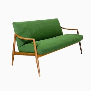 Mid-Century Dutch 2-Seat Sofa with Teak Legs & Armrests, 1960s